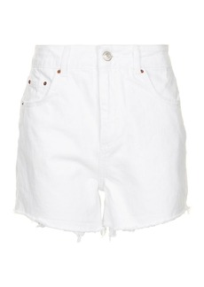 Topshop Moto High Waisted White Mom Shorts