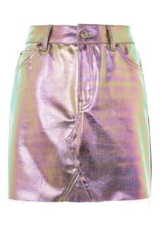 Moto Iridescent Metallic Mini Skirt