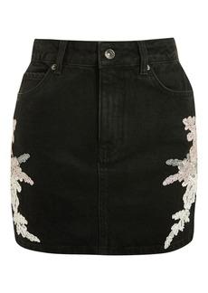 Moto Lace Applique Denim Skirt
