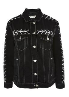 Moto Lace Up Denim Jacket