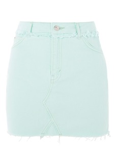 Moto Mint Denim Mini Skirt