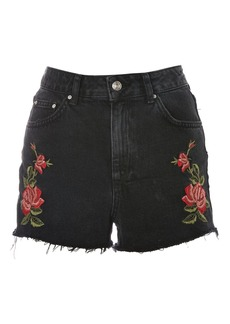 Topshop Moto Rose Embroidered Mom Shorts