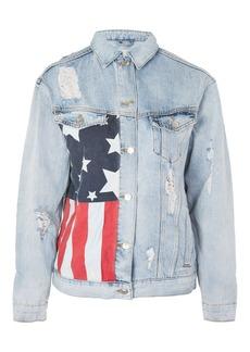 Moto Usa Flag Motif Denim Jacket