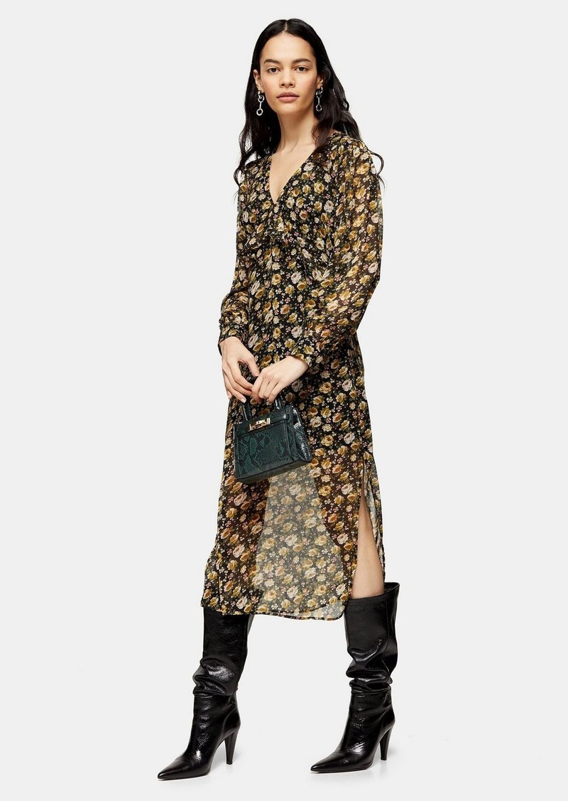 Topshop Multi Bust Frill Midi Dress