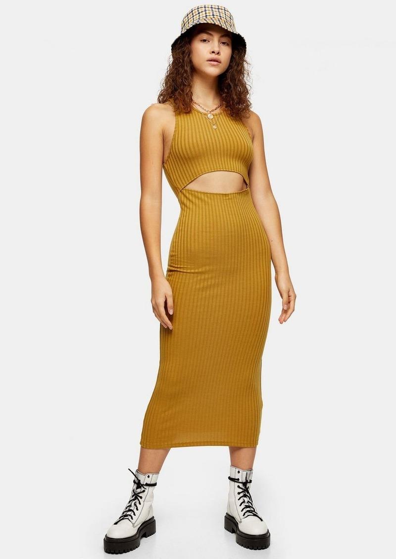 Topshop Mustard Cut Out Ribbed Midi Dress
