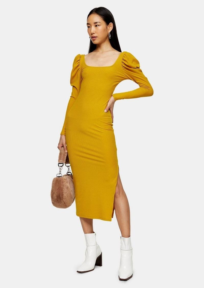 Topshop Mustard Ribbed Puff Sleeve Bodycon Dress
