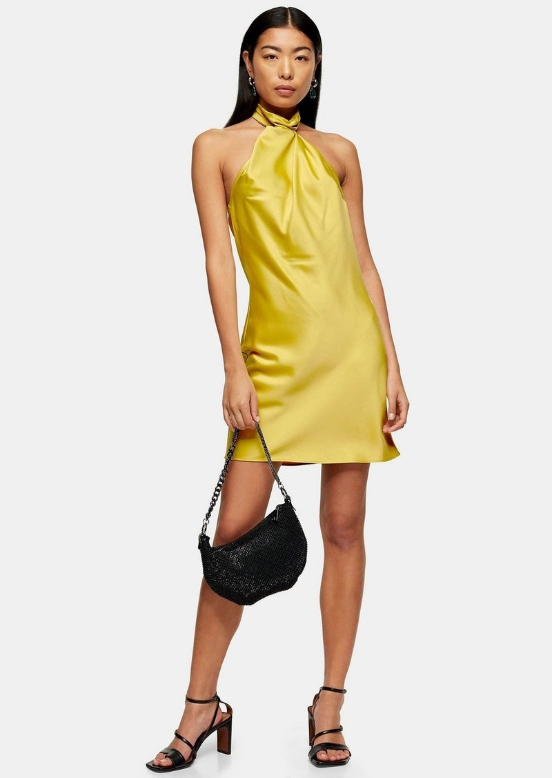 Topshop Mustard Satin Halter Neck Dress