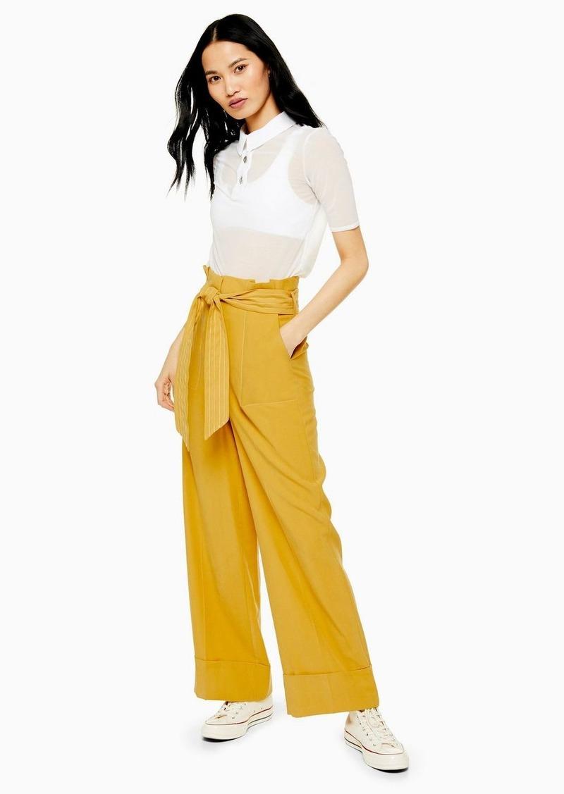 Topshop Mustard Stitch Belt Wide Pants