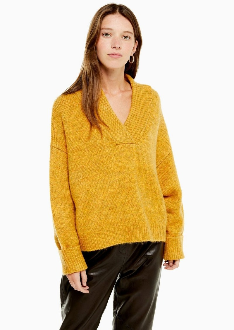 Topshop Mustard Super Soft V Neck Sweater