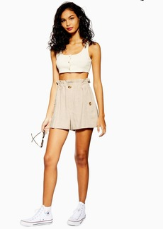 Topshop Natural Paperbag Shorts With Linen