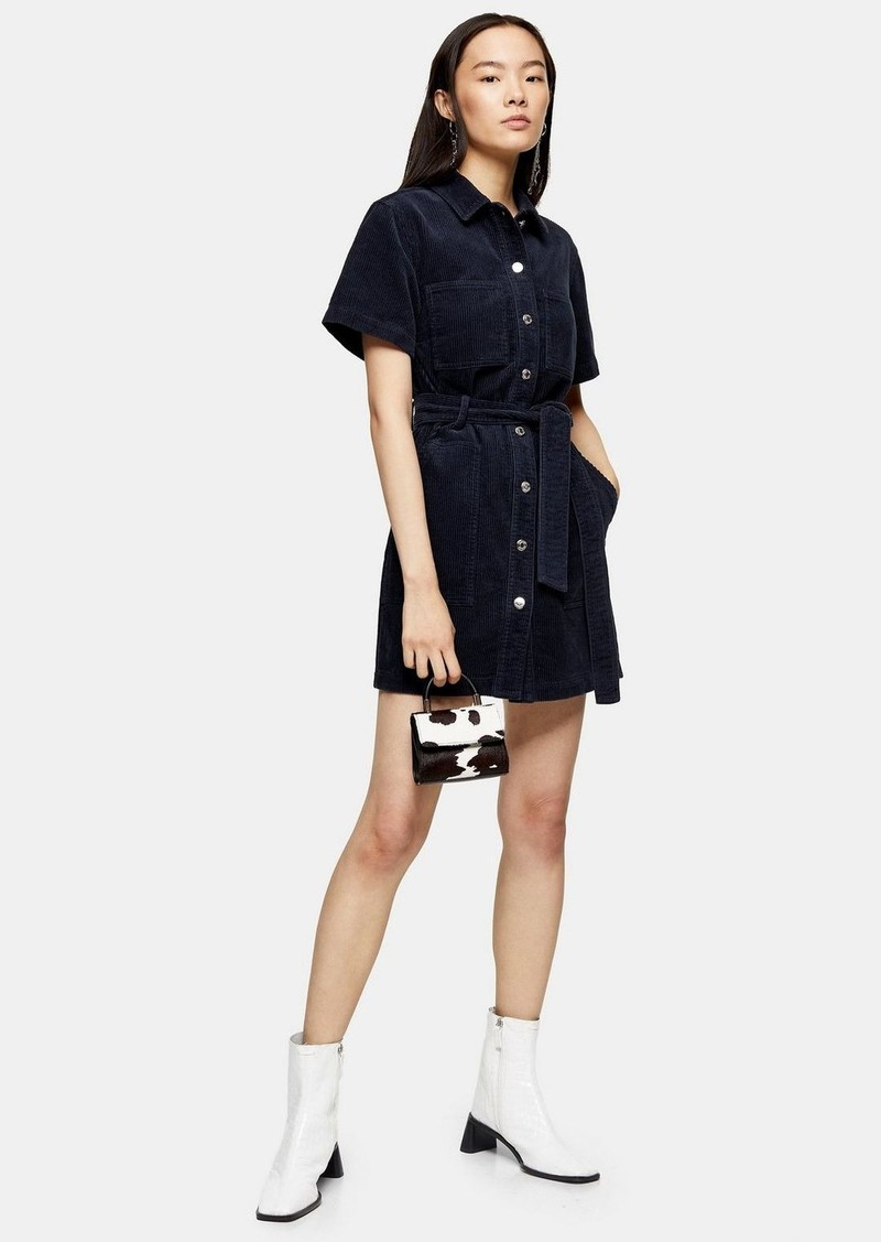 Topshop Navy Corduroy Short Sleeve Shirt Dress