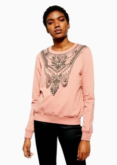 Topshop Necklace Embellished Sweatshirt