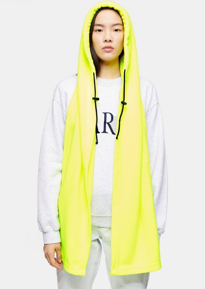 Topshop Neon Yellow Hooded Scarf