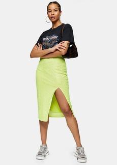 Topshop Neon Sequin Pencil Skirt