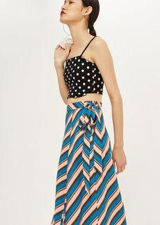 Topshop Neon Stripe Midi Skirt