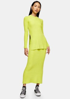 Neon Yellow Chenille Skirt By Topshop Boutique