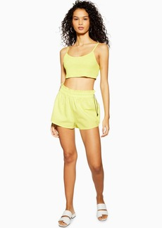 Topshop Neon Yellow Shirred Toggle Top And Shorts Set