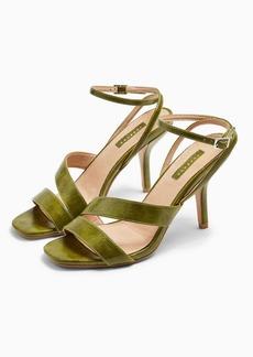 Topshop Nero Green Mid Heel Sandals