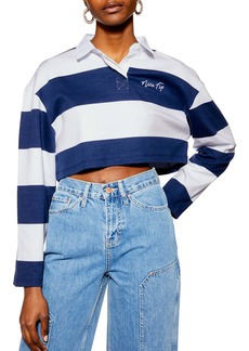Topshop Nice Try Rugby Polo Crop Top