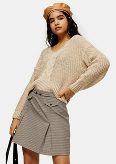 Topshop Oat Central Cable V Neck Sweater