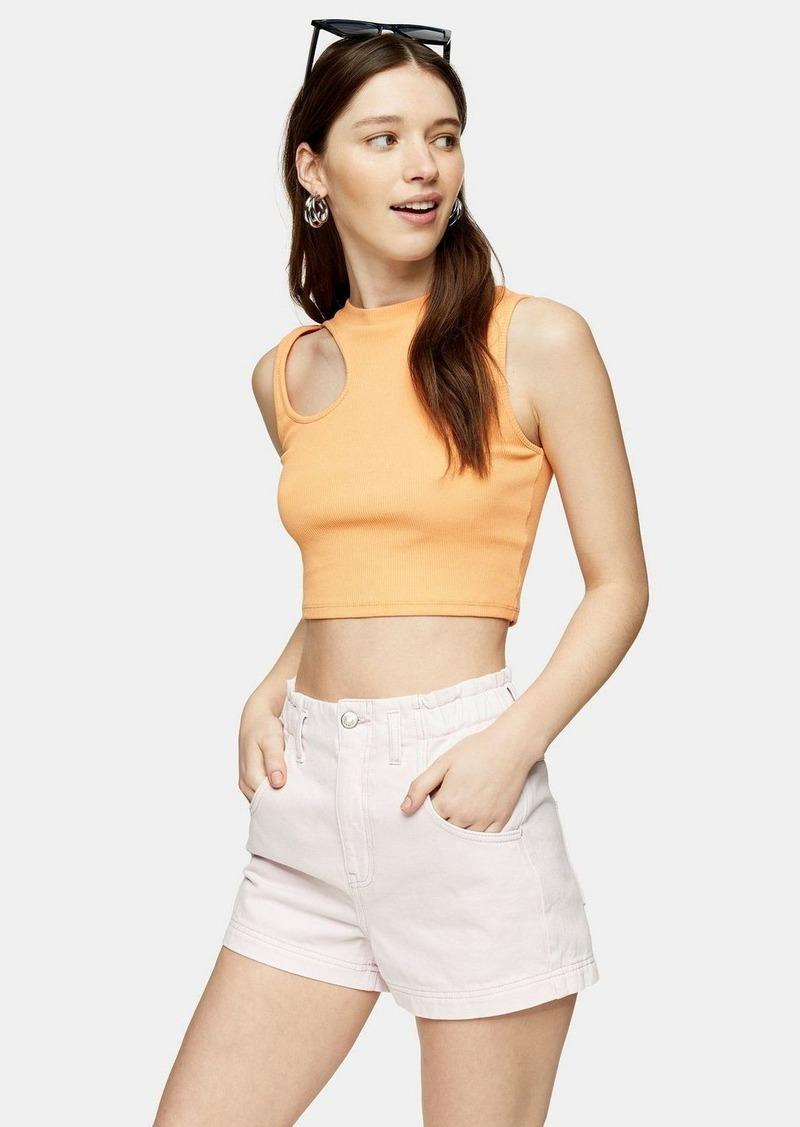 Orange Asymmetric Cut Out Top