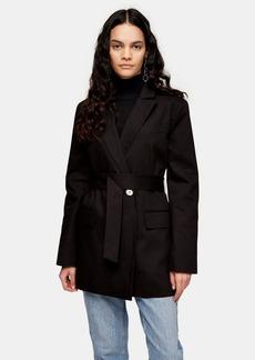 Topshop Black Oversized Belted Blazer