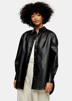 Topshop Idol Black Oversized Leather Shirt