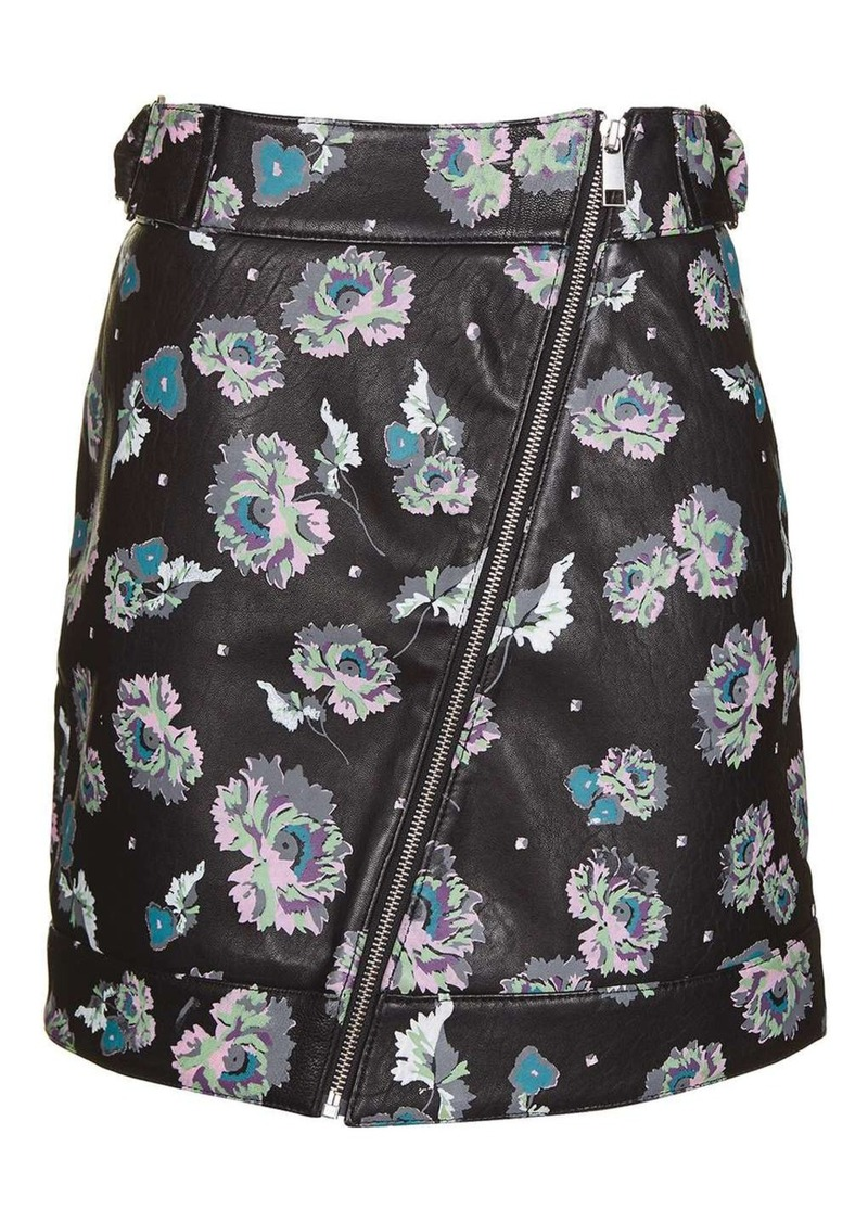 Topshop Paint Floral Leather Skirt