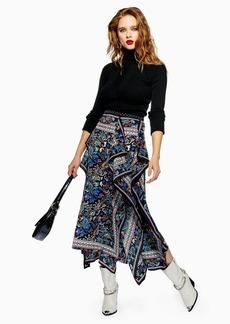 Topshop Paisley Asymmetric Midi Skirt