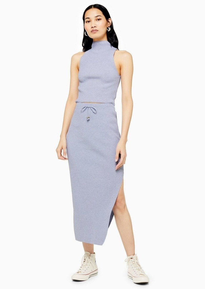 Topshop Pale Blue Recycled Knitted Midi Skirt
