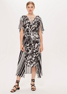Topshop Palm Print And Striped Dress By Boutique