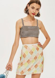 Topshop Pastel Diamond Sequin Mini Skirt