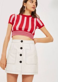 Topshop Patch Pocket Leather Mini Skirt