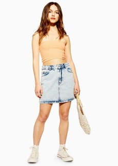 Topshop Petite Acid Wash Denim Mini Skirt