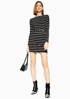 Topshop Petite Belt Stripe Mini Dress