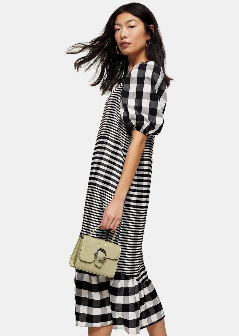 Topshop Petite Black And White Bubble Textured Midi Check Dress