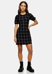 Topshop Petite Black And White Check Crinkle Puff Sleeve Mini Dress
