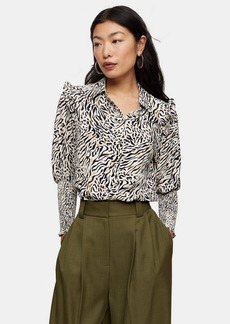 Topshop Petite Black And White Print Frill Shirred Shirt