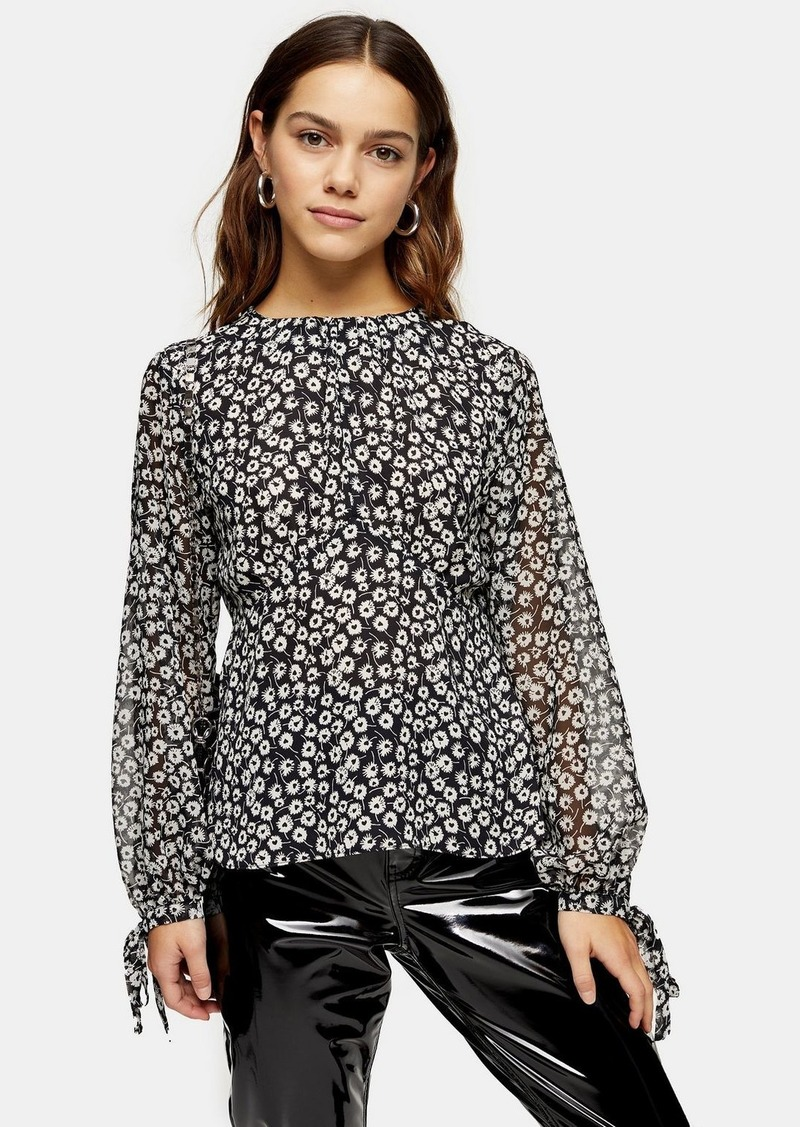 Topshop Petite Black And White Print Sheer Sleeve Top