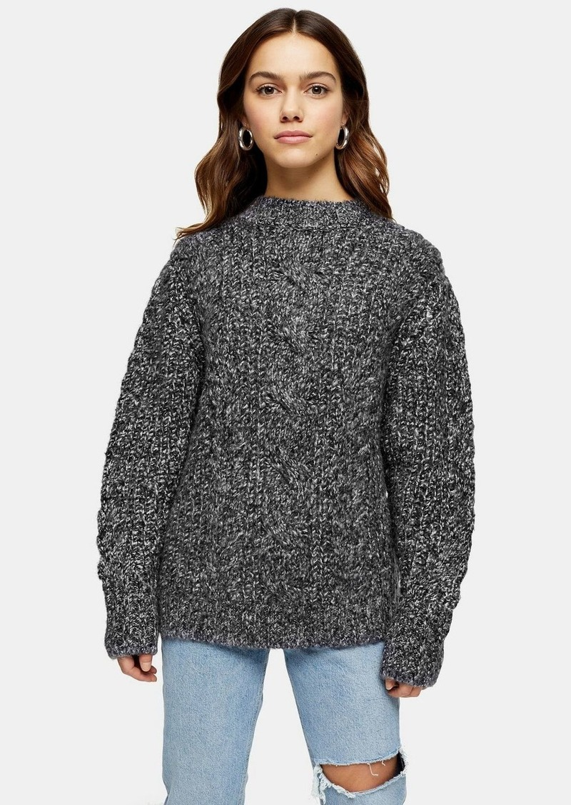 Topshop Petite Black And White Vertical Cable Crew Neck Jumper