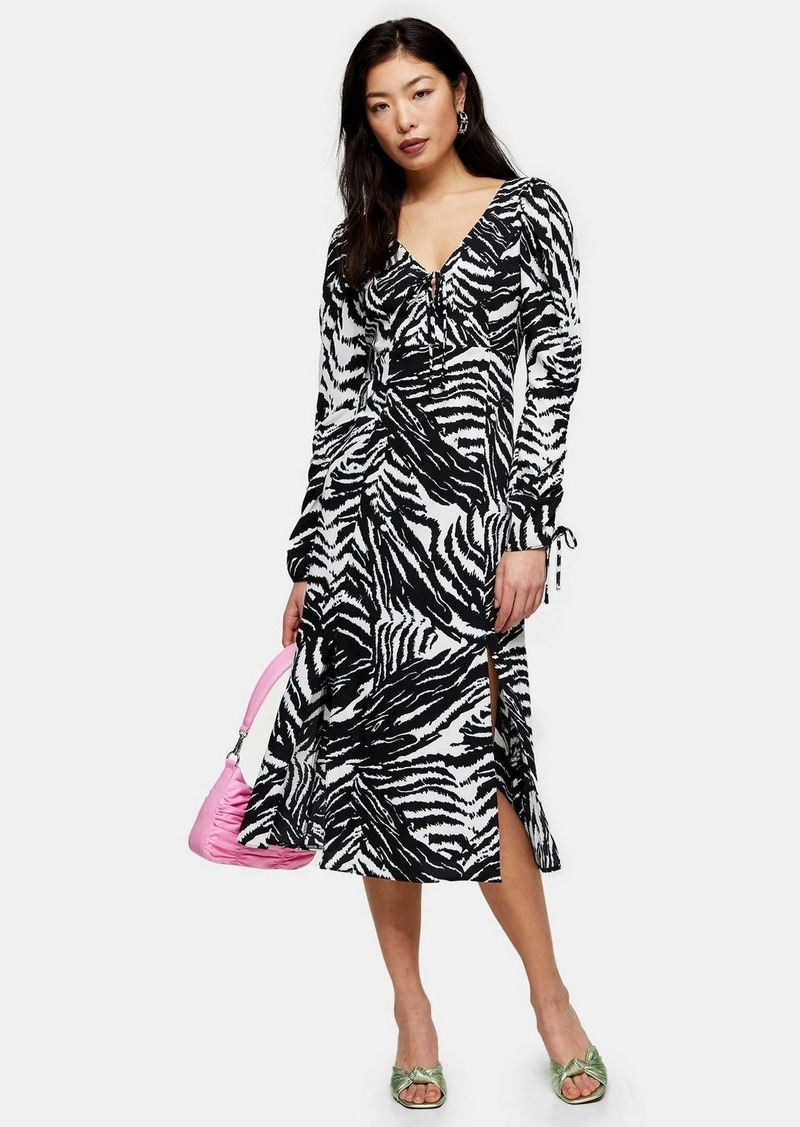 Topshop Petite Black And White Zebra Ruched Sleeve Midi Dress