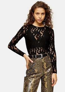 Topshop Petite Black Daisy Print Lace Long Sleeve Top