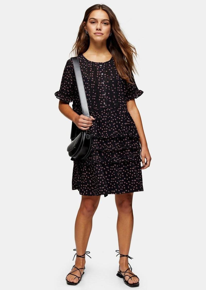 Topshop Petite Black Ditsy Ladder Trim Mini Dress