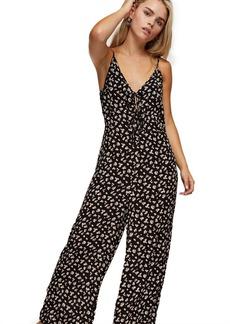 Topshop Clothing /Rompers Jumpsuits /Petite Black Tie Front Floral Jumpsuit