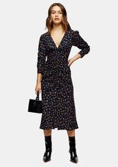 Topshop Petite Black V Neck Ruched Midi Dress