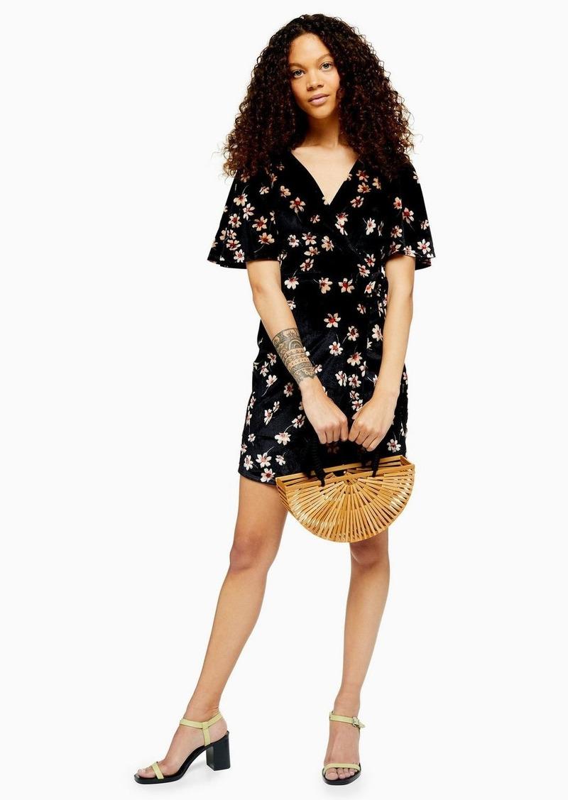 Topshop Petite Black Velvet Wrap Skater Dress