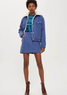 Topshop Petite Blue Corduroy Skirt
