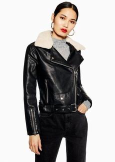 Topshop Petite Borg Collar Faux Leather Biker Jacket