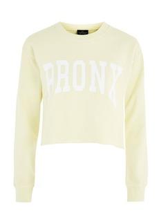 Petite Bronx Slogan Crop Sweatshirt