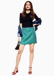 Topshop Petite Check Frill Mini Skirt